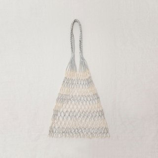 Hand-woven fish net bag (silver white color)