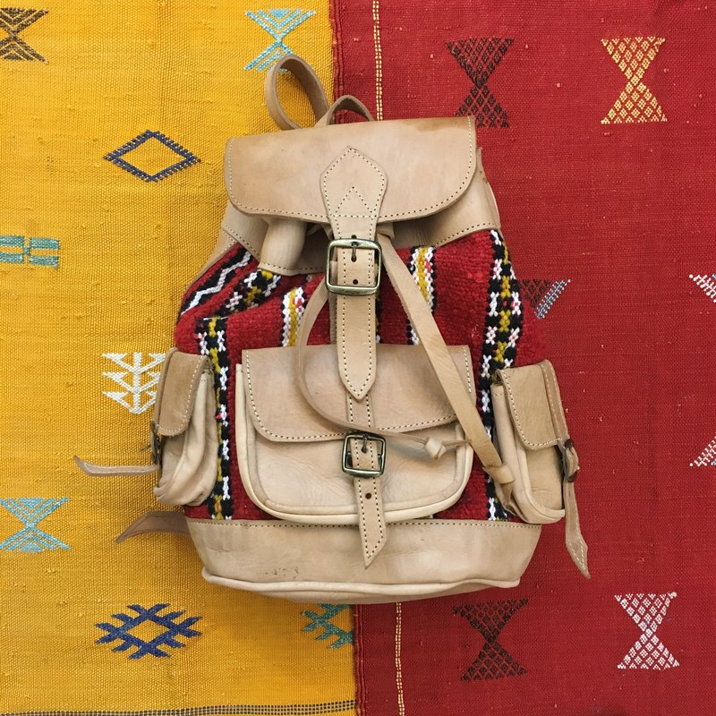 Moroccan hand-woven rug light lambskin backpack national wind accessories