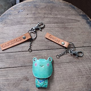 Gentleman frog pure leather key ring - can be lettering