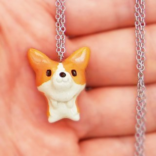Quite small ceramic pendant of corgi shape #1 Always with corgi!