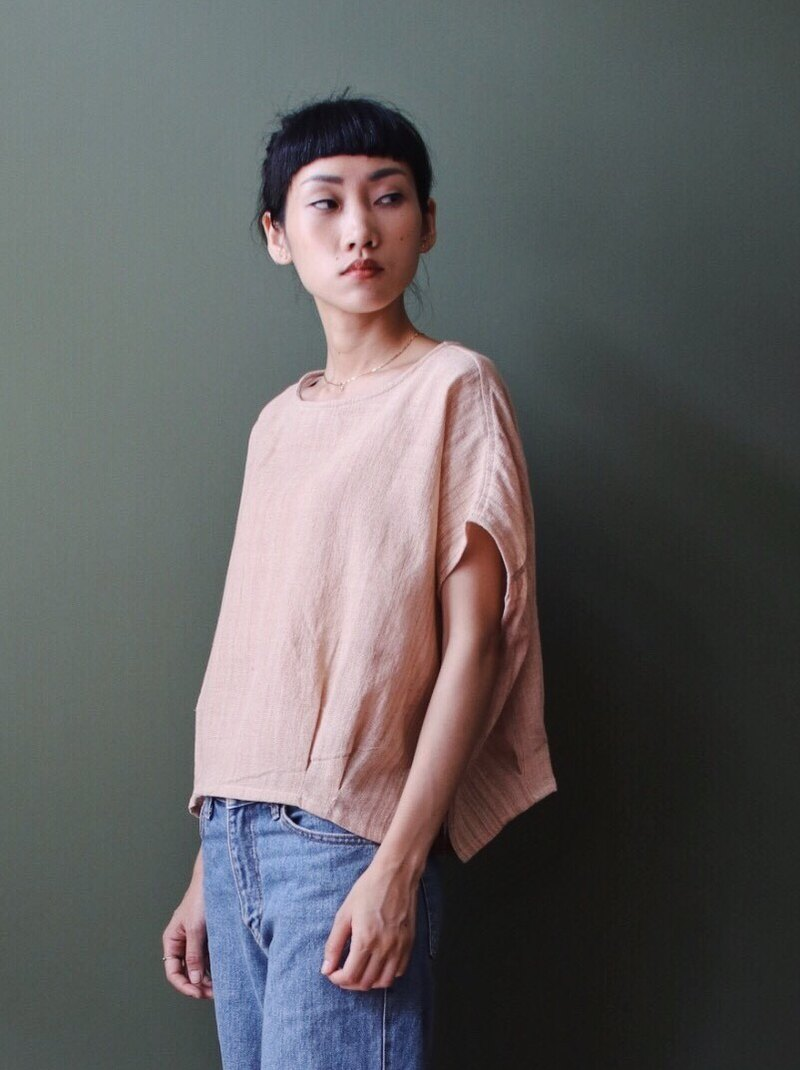 Omake Remake Cotton and Yarn Discounted Dai Embroidery Short Tee Light Pink Orange