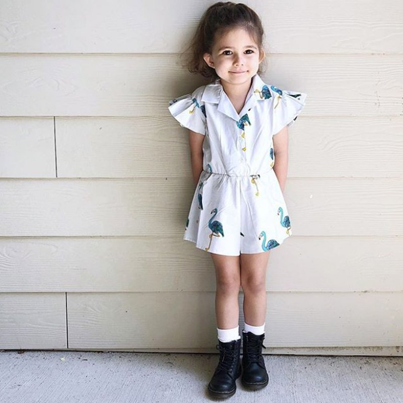 Ruffled Romper - Blue Flamingos