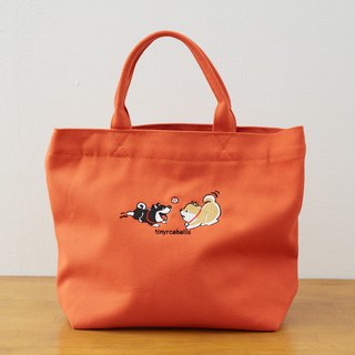 La Petite Coco Series  Shiba Inu Canvas Small Tote Bag - 12oz