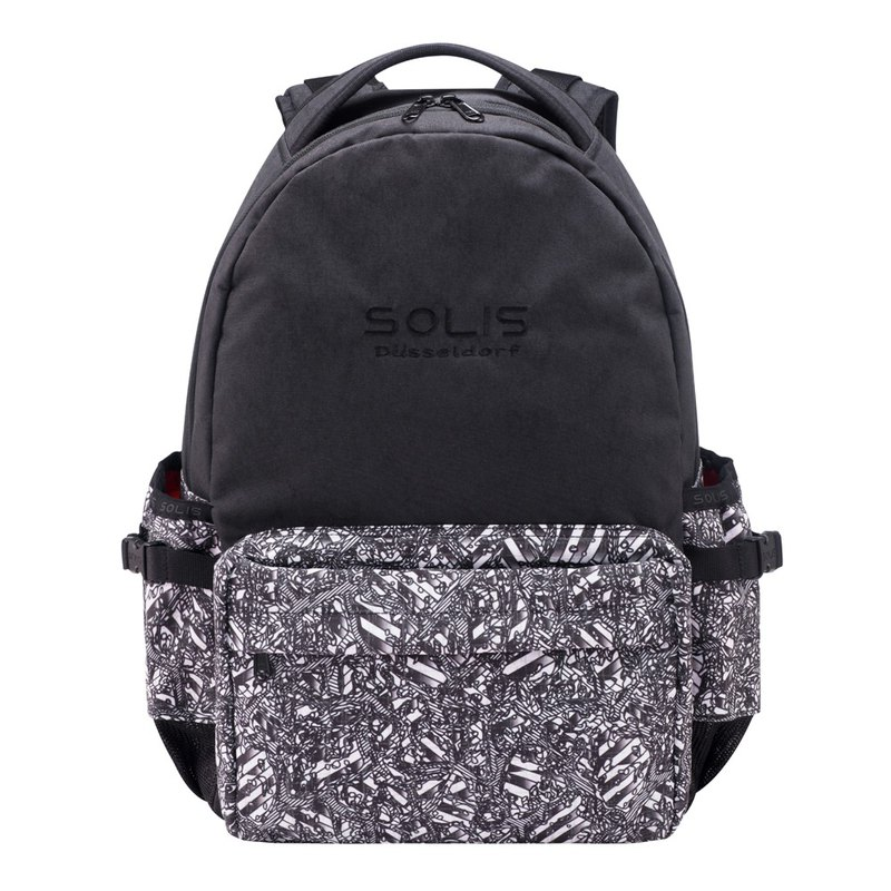 "SOLIS ONES Series 13"" basic laptop backpack(Reflective Spiral-Black Layered)"