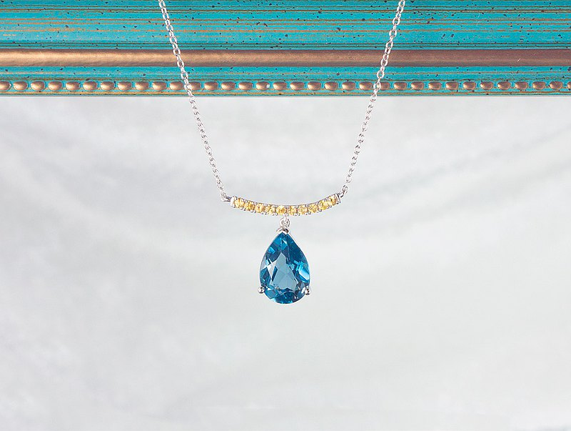 Edith & Jaz • Tear Drop London Blue Topaz Sapphire Silver Necklace