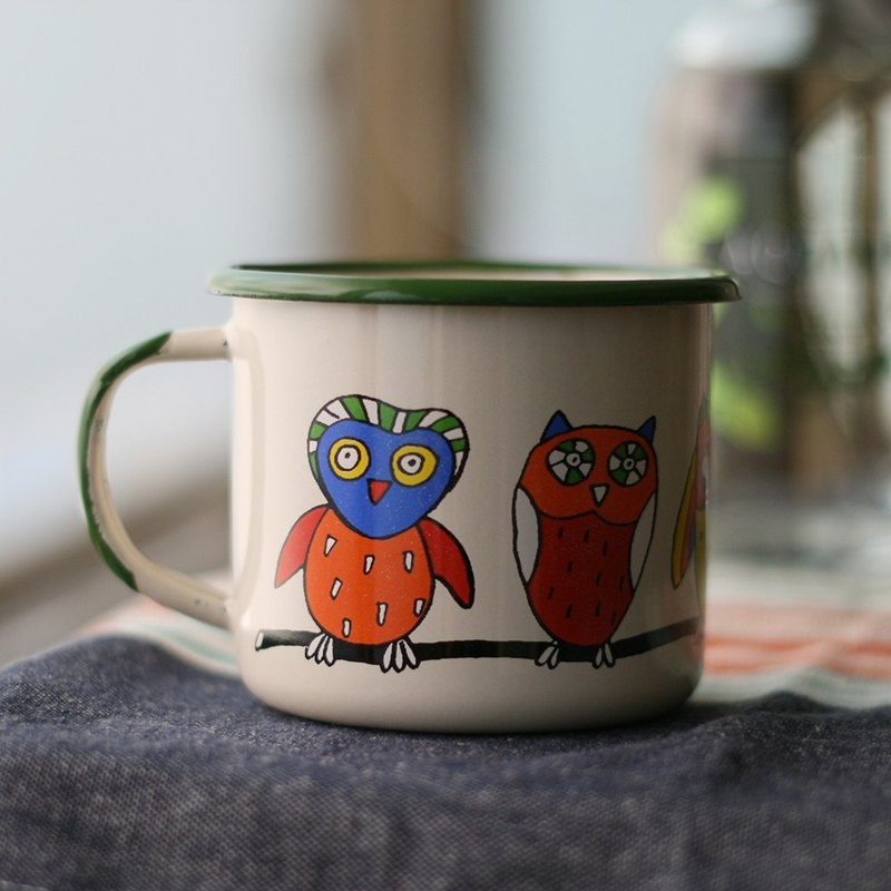 Smaltum Prague enamel cup Stayed owl _ beige (350ml) (FDN000366)