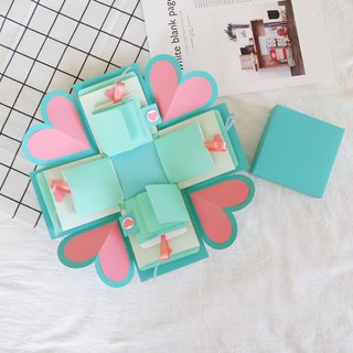 Sweet Home Gift Box Card - Classic Tiffany Style - Green Box x 2 Side Flip Card - Handmade Card / Valentine's Day Card / Explosion Card / Explosion Box