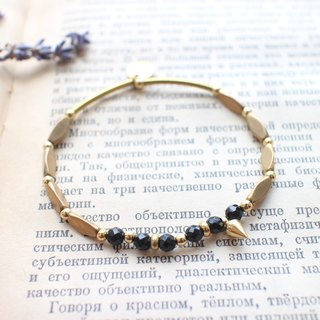 Hiphop-Black agate brass bracelet