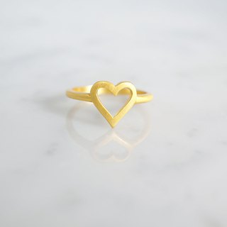 【Gold Vermeil】Open Heart Matt Gold Ring