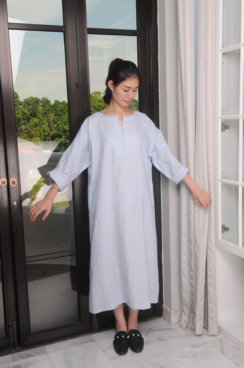 Linen Dress /Long Sleeved /Ankle Length Linen Dress / Flowy & Breathable EP-D648
