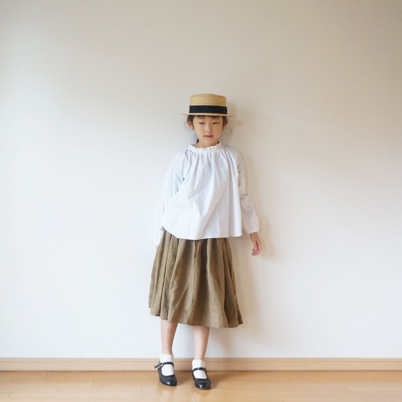 Linen waist gather skirt kids 3 (120 ~ 135 cm), 4 (140 ~ 155 cm) size