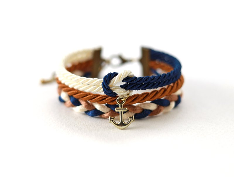 Nautical wrap bracelet in with anchor in navy blue / cinnamon brown / cream
