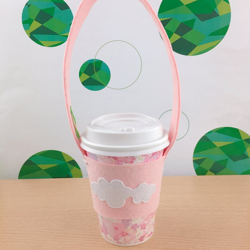 Pink white clouds blossoming green drink bag set
