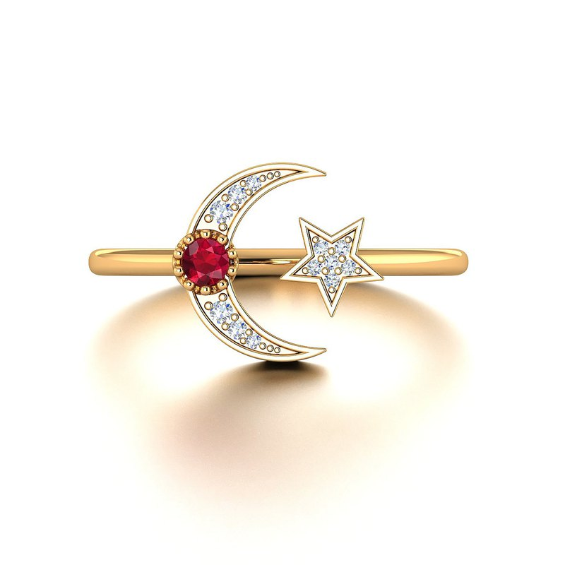 【PurpleMay Jewellery】18K SOLID GOLD CRESCENT MOON AND STAR RUBY RING - R034-1