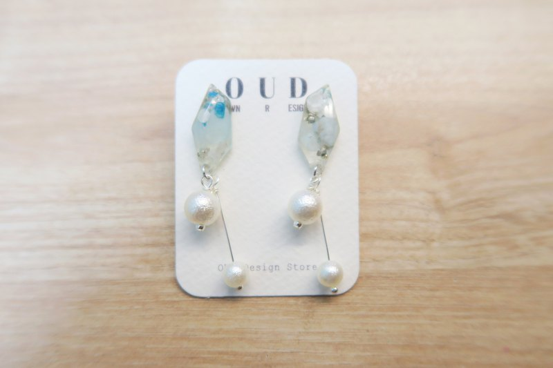 OUD Original. Handmade Geometric. 925 Silver Pearls Drop Earring/Clip-on