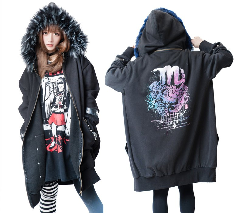 punk tattoo scorpio death star detachable hood thermal parka jacket【JJ2240】