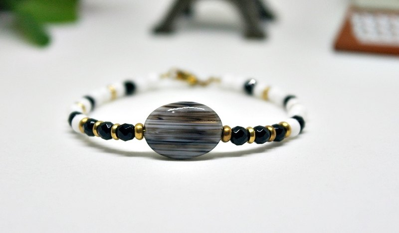 Natural stone wall _ x brass snap bracelet agate # # # # ➪ clam can change into elastic bracelet