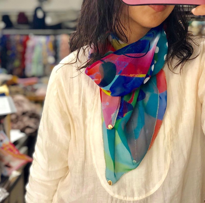 KAYANO USHIYAMA × Ballett collaboration scarf Paradise of the universe large chiffon square made in Japan
