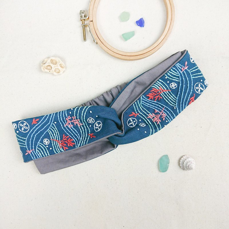 The Inspiration From Ocean-Sea Wave & Jelly Fish Embroidery Headband