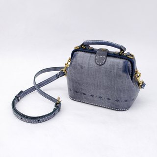 [Cut line] doctor bag mouth gold handbag sewing tattoo leather retro carved flower lady cute shoulder bag handbag fog waxy blue