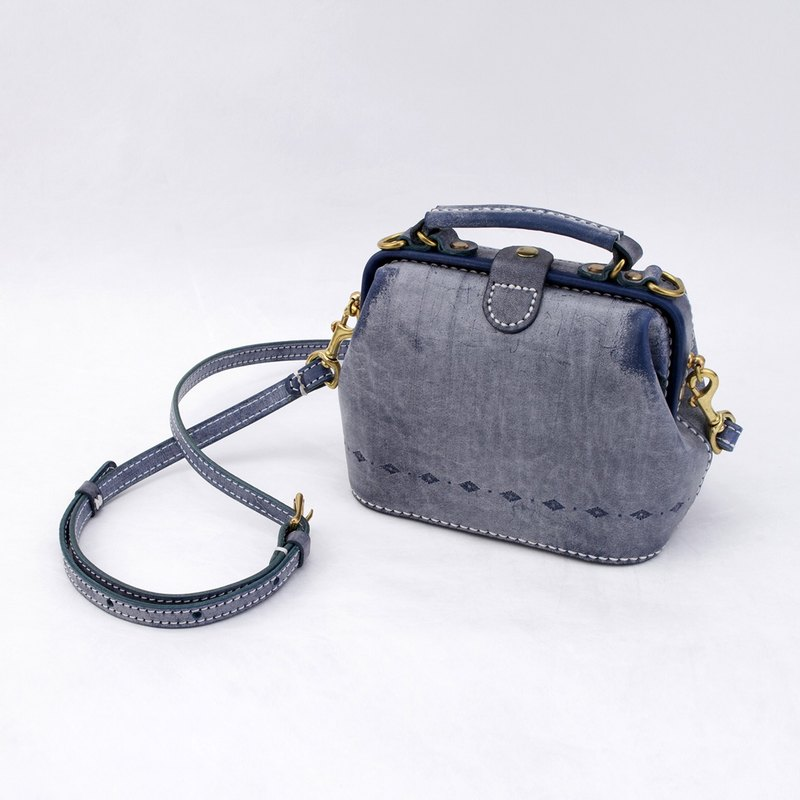 [tangent pie] doctor bag gold bag pure hand-sewn vegetable tanned leather lady cute shoulder bag hand fog wax blue