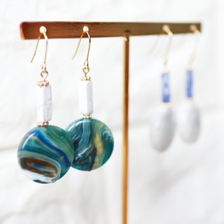 Natural Stone Series - Geometric Earrings / Ear Clips