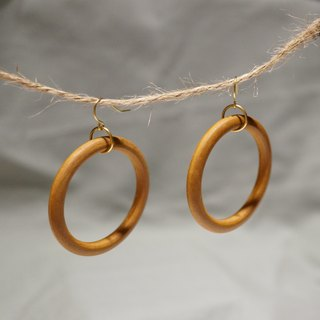ITS-E119[Brass ear hook series・Wooden ring earrings] Ferrule earrings earrings