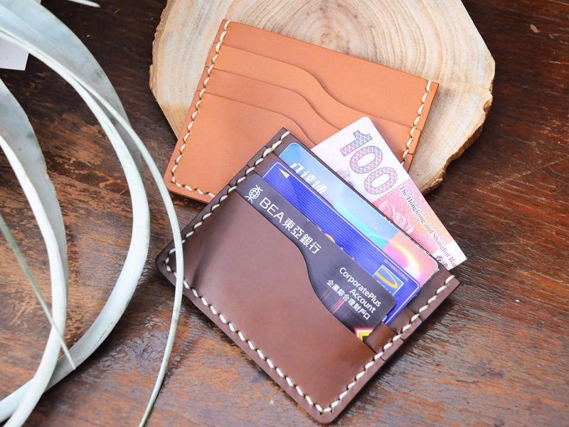 【3 + 1 Card Card Holder】 Good Sewing Leather Bags Free Tape Handbag Card Holder Card Holder Card Holder Card Holder Simple and Practical Italian Leather Leather Tanning Leather DIY Card Card Card Card