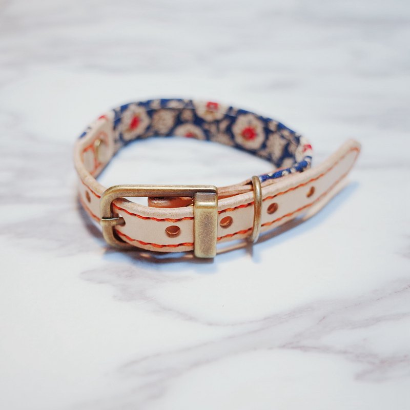 Dog collars, S size, old style blue floral pattern_DCT090423