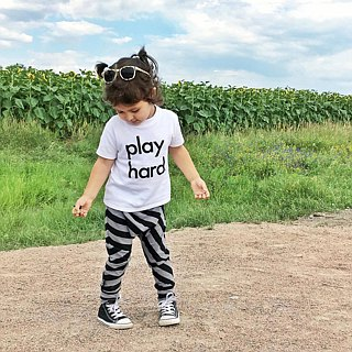 Nordic organic cotton children's flying rat pants striped black