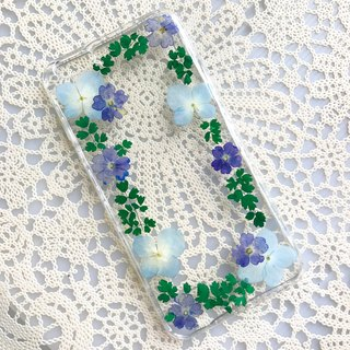 iPhone 7 Dry Pressed Flowers Case Blue Flower case 019