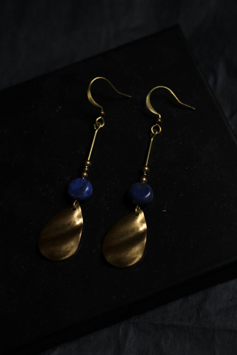 Midnight blue lapis lazuli brass earrings - can be changed ear clips