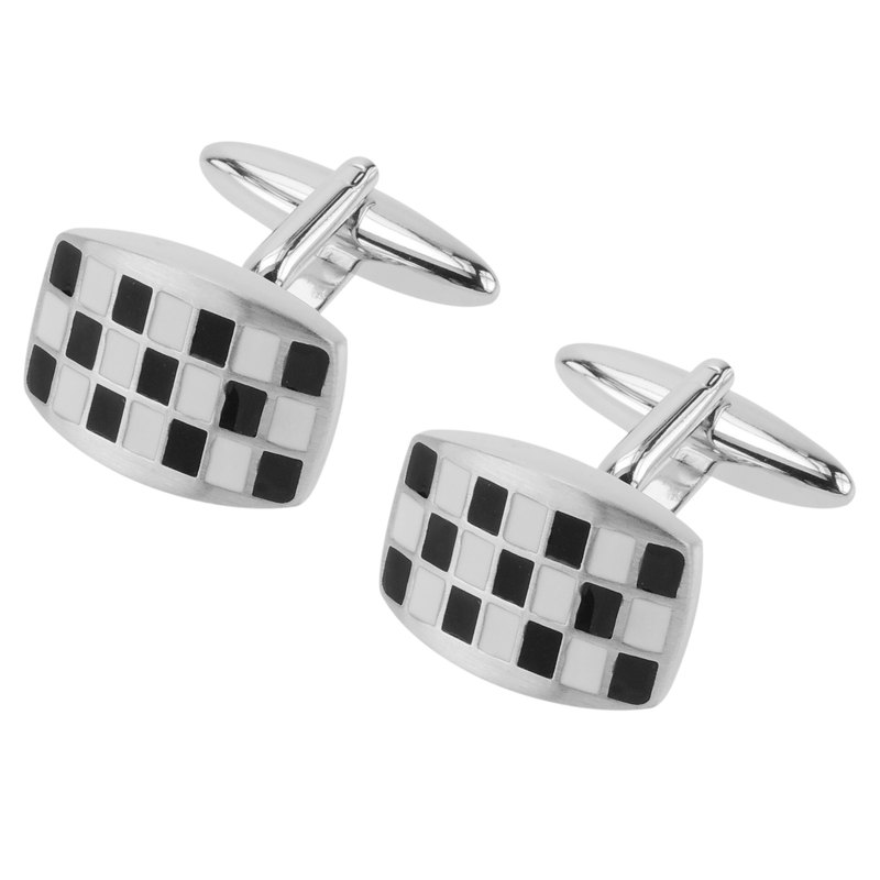 Black and White Checker Domed Cufflinks