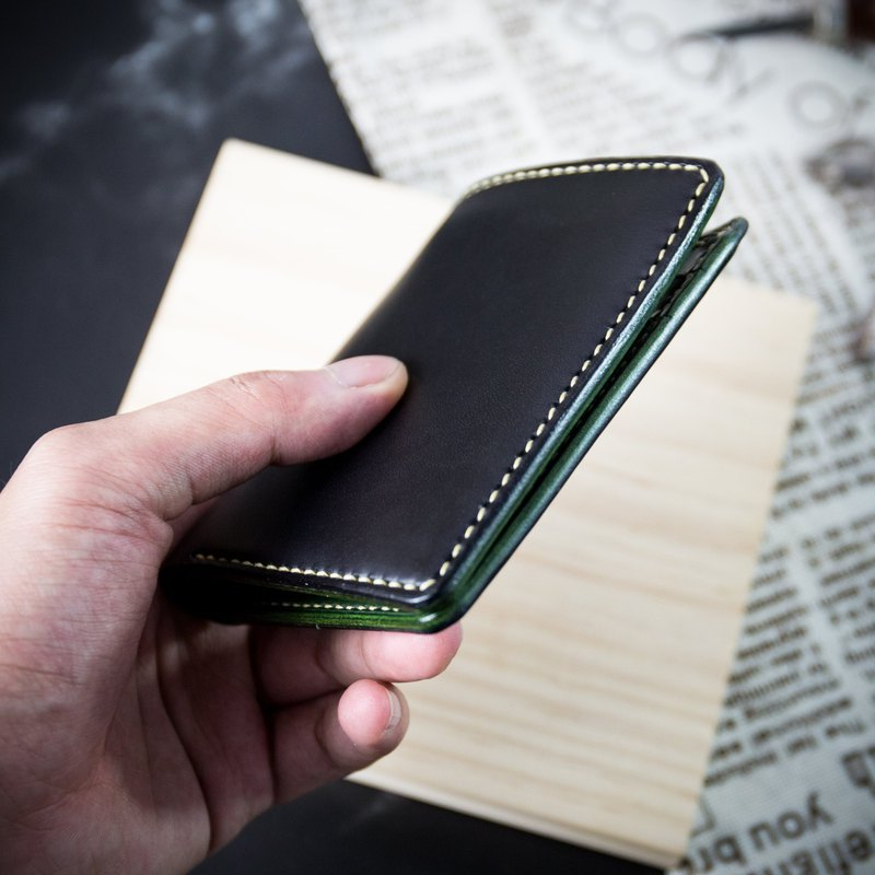 [Upright wallet, banknote clip] Italian vegetable tanned leather lettering MISTER hand made / seam leather