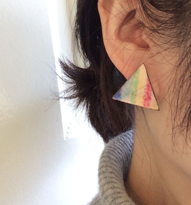 Earrings triangle of the rainbow