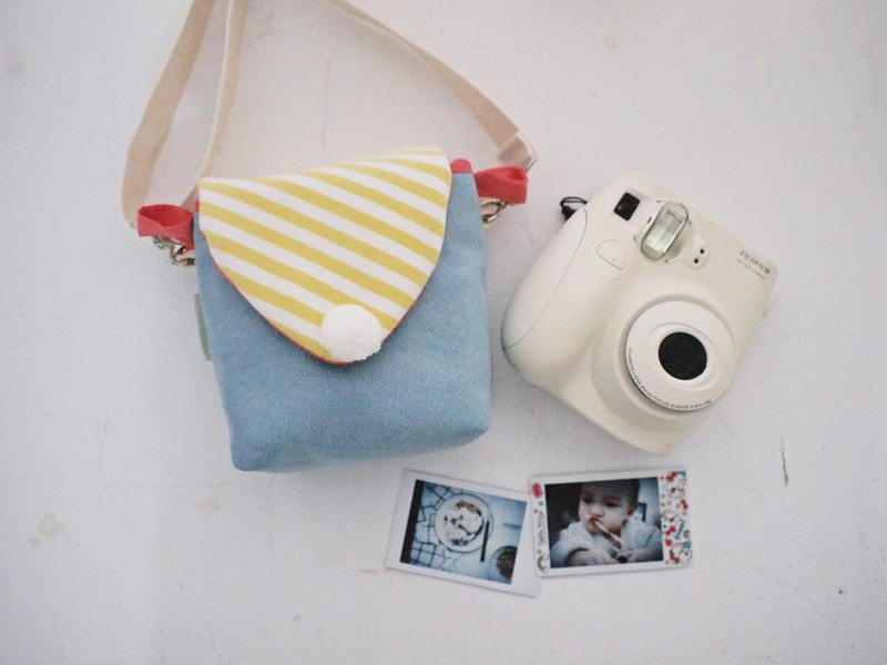 Hairmo macarons simple activities buckle camera bag zipper side back section - suede blue (Polared section)