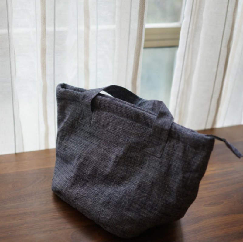 Gray reed earthen cloth hand-woven cloth handbag hand bag simple daily commuter storage bag tote bag