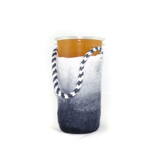 Handmade wool felt wet felt gradient woven green cup / beverage bag (ink)