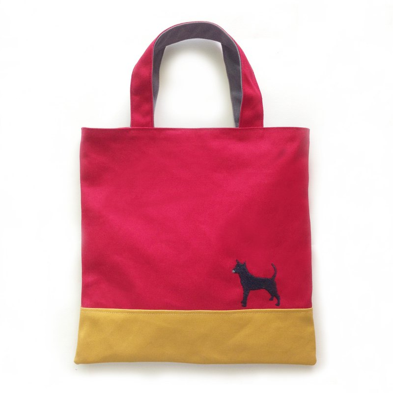 Taiwanese Terrier - Tote Double Mini- Taiwan Dog / Canvas Tote / Embroidery / Toy Bag