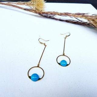 Copper Round Geometry Sky Blue Colored Beads Copper Handmade _ Earrings