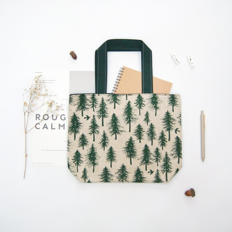 Hand made forest tree print tote