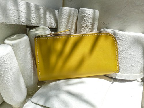 Do not hit the bag lemon yellow vegetable tanned leather universal leather wallet