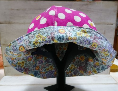 Small yellow dog pink dot pink blue small floral double-sided fisherman hat