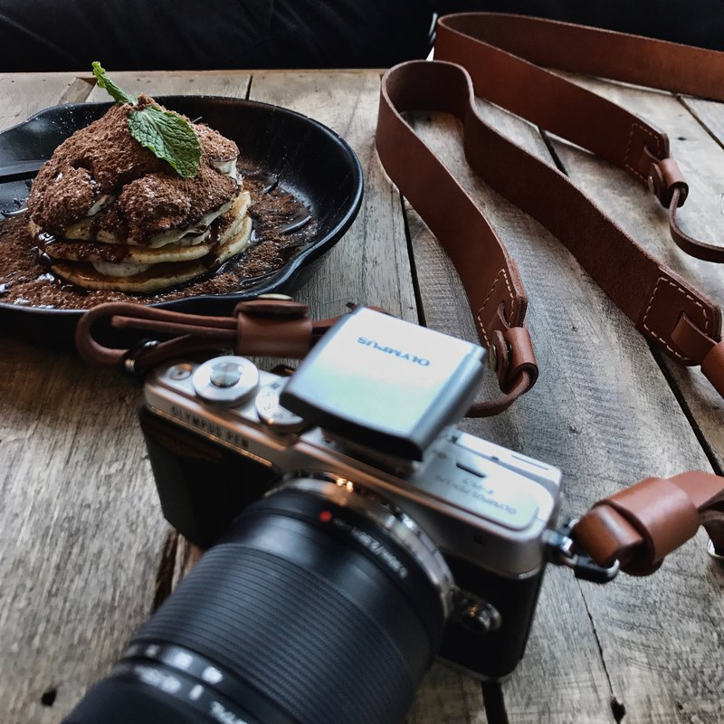 Ochre leather camera strap - OD