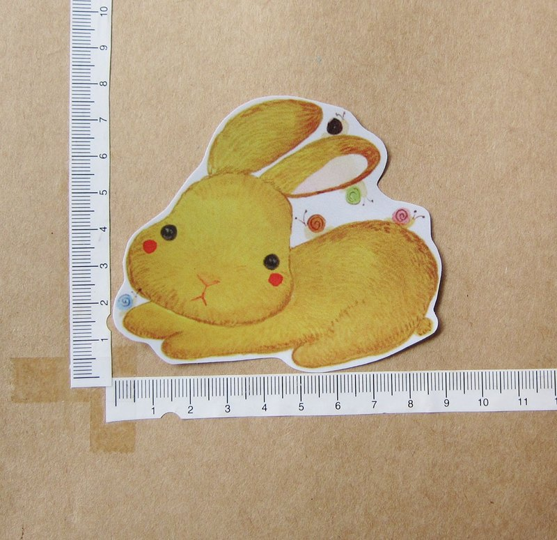 Hand-painted illustration style completely waterproof sticker Little yellow rabbit and snail friends