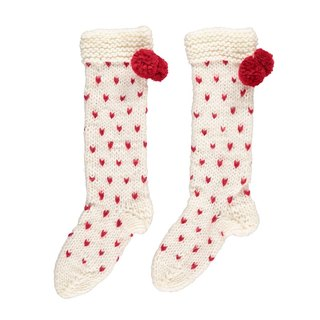 PINKOI sole selling / super thick love pattern wool blend hand-woven socks (cream red love)