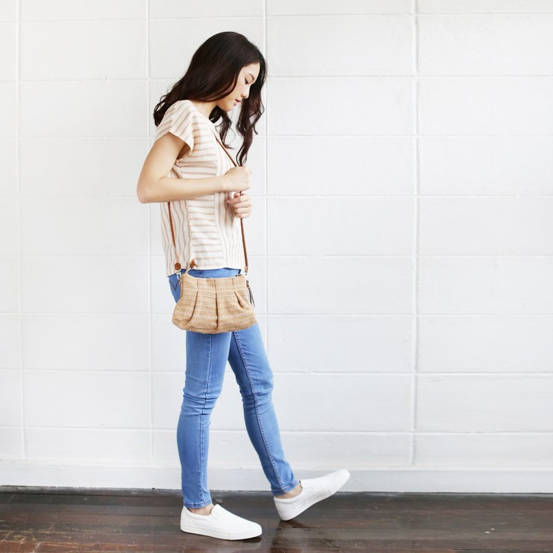 Natural-Tan Crossbody Bags Mini Skirt XS Hand woven and Botanical dyed Cotton