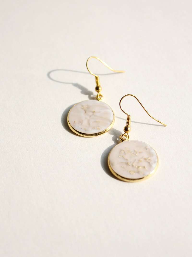 Sheet metal / origin / large round gold handmade pendant ear hook earrings