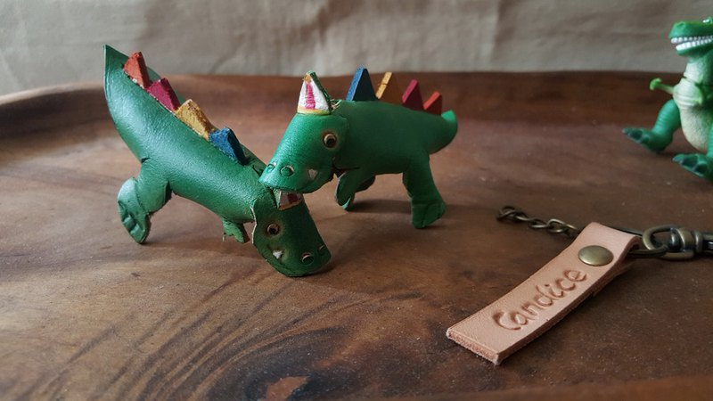 Lovely tyrannosaurus dinosaur pure leather key model - engraved name