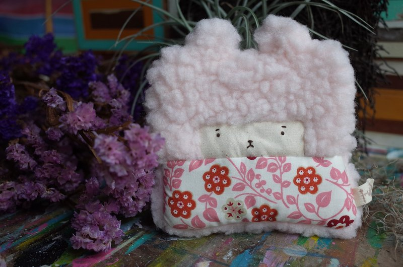 Bunny Rabbit Coin Purse - Pink Hair -173 Pink Circle Flower